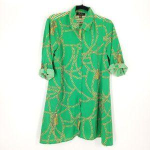 Melissa Paige Green Chain Link Print Tunic/Dress L